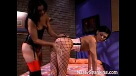 Stocking Lesbian Spanked...