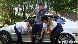 Clothed cop babes suck...