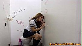Schoolgirl cutie sucking during...