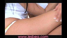 Lesbea Lovely teen threesome...