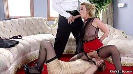 Big dick master bangs two hot slaves