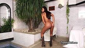 Busty brazilian tranny plays...