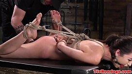 Spreadeagled bondage sub toyed using vibrator zooskool