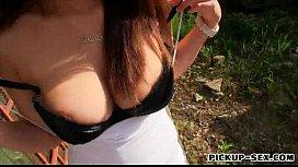 Busty amateur Czech slut Veronika pussy pounded in public