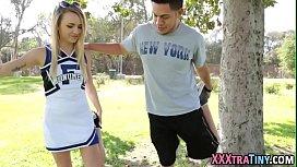 Tiny cheerleader railed...