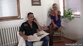 Czech blonde cuckolds old...