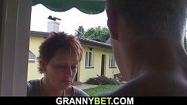 Granny neighbor riding his...