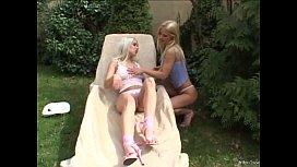 Gorgeous lesbian blondes pleasuring...
