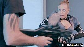 Human cyborg policewoman with...