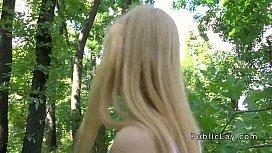 Blonde amateur flashing titties...