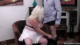 Blonde woman at work...