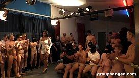German mature whore deepthroats everybody during gangbang
