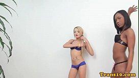 Ebony tgirl assfucking tranny...