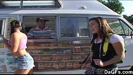 Ice cream man dips...