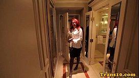Redhead tgirl in spex...