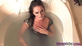 Spunked bathing pornstar...