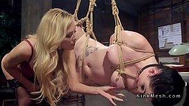 Femdom strap on anal banging in bondage