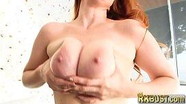 Big natural tits redhead...