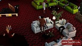 Threesome FMF 3D sex in nightclub - www.Sex3d.life