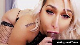 Cock Sucking Nina Kayy Spits On & Blows A Big Black Dick! movbiz