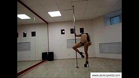 Skinny girl pole dancing...