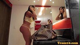 Curvy latina tgirl cocksucking...