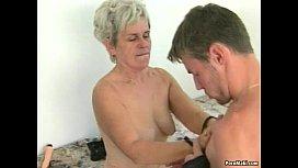 Hairy granny tastes young...