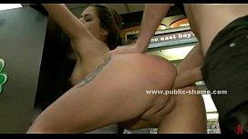 Delicious naked brunette public...