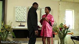 Ebony masseuse cum soaked...