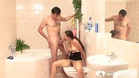 Interrupting her shower session...