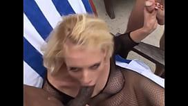 Blonde outdoor interracial dp...