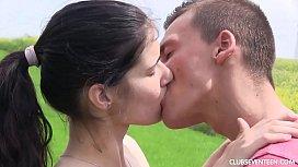 Pigtailed brunette teen gets...
