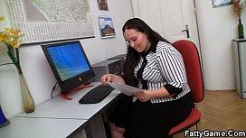 Chubby office girl gets...