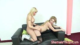 Shemale fucks blonde babe...