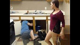 Girl seducing plumber...