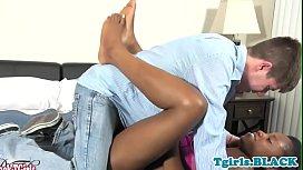 Ebony tgirl gets assfucked...