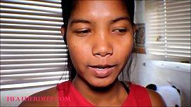 HD thai teen asian heather deep give  deep throat creamthroat before bed time