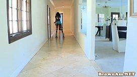 Ebony rollergirl Armani Monroe drinking cum