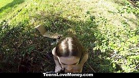 TeensLoveMoney - Busty Molly Jane Fucks Outside for Cash