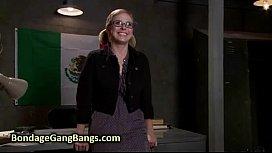 Busty blonde babe gangbang...