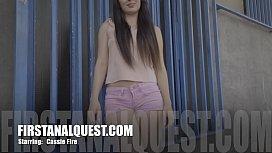 FIRSTANALQUEST.COM - CASSIE FIRE DOES HER FIRST ANAL PORNO MOVIE