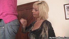 Blonde mother inlaw seduces...