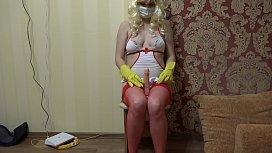 A pregnant nurse treats...