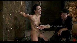 Brunette sex slave spanking...