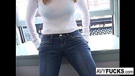 Busty Avy Scott wants a little booty call after her meeting