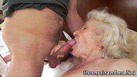 Mature grannys mouth cum...