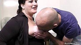 Boss pounds big tits...