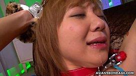 Submissive Asian bimbo Rui Hazuki got her hairy asshole toyed