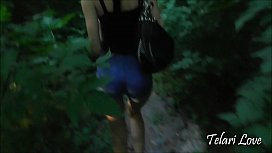 Young brunette swallows cum in the park