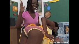 Ebony strapon lesbian anal...